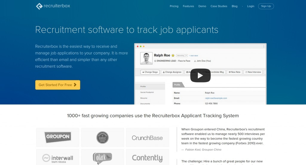 Recruiterbox homepage screenshot